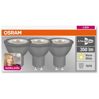 Osram  LED GU10 Light Bulb 4.7W (50W) - 3 Pack