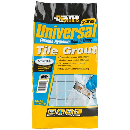 Everbuild  730 Universal Flexible Tile Grout Grey - 5kg