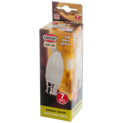 Eveready  CFL Mini Candle Soft Lite Light Bulb - 7W BC