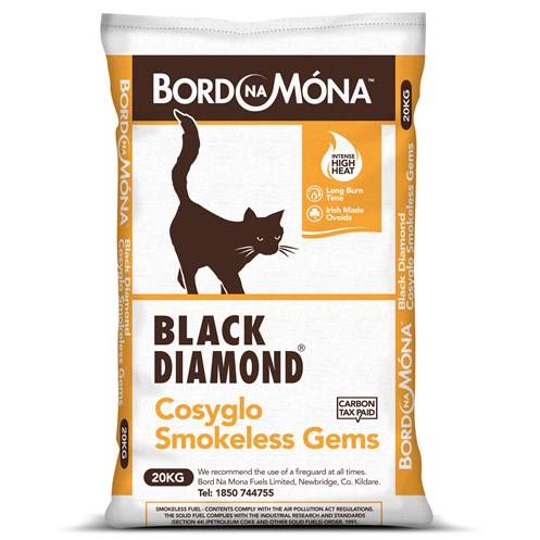 Bord na Móna Black Diamond Cosyglo Smokeless Gems Coal - 20kg