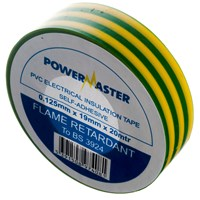Powermaster  20m PVC Insulating Tape - Green/Yellow