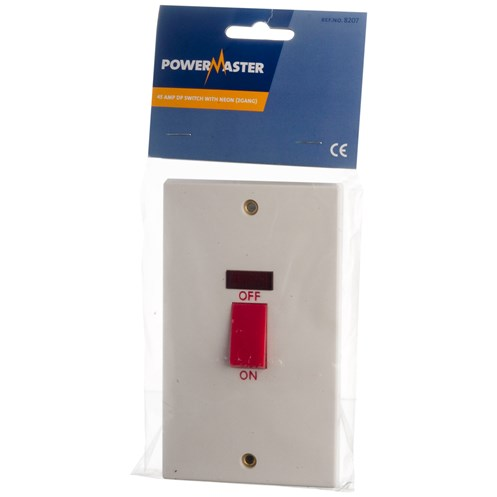 Powermaster  Double Switch c/w Neon - 45 Amp 2 Gang