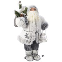 Grey Plush Santa with White Snowflake Jacket  - 90cm